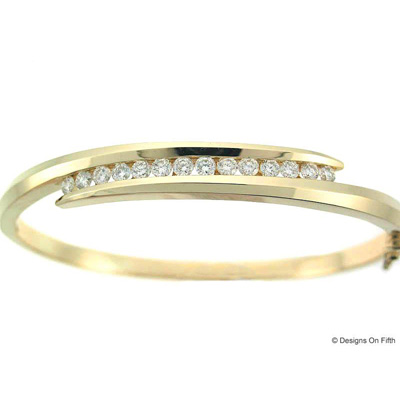 View 14K Yellow  Gold<BR>  Diamond Bangle