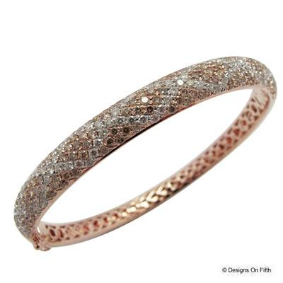 View 14K Rose  Gold<BR> Brown Diamond Bangle